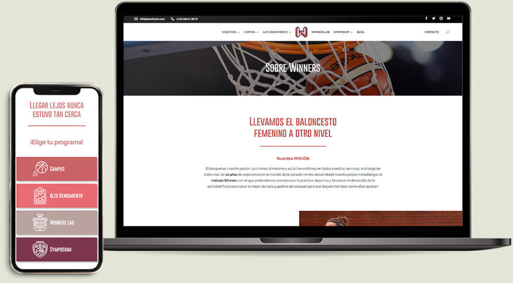 Mockup proyecto diseño web responsivo para I am Winners